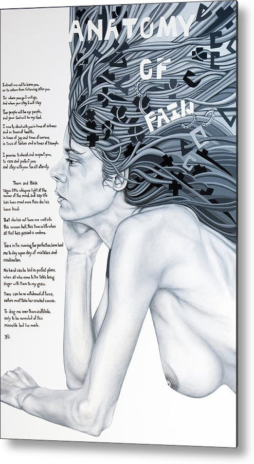 Poetry Metal Print featuring the painting Anatomy Of Pain by Judy Henninger