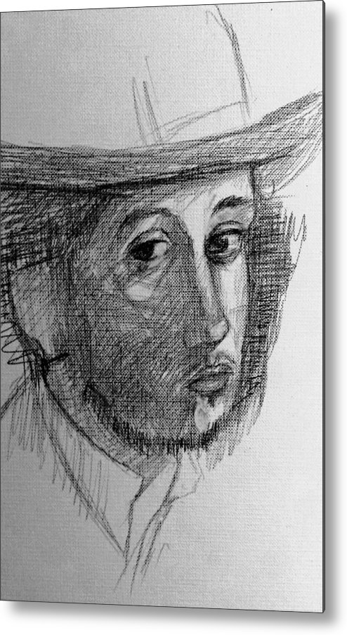 Portrait Of Degas Metal Print featuring the drawing Artist Degas by Hae Kim