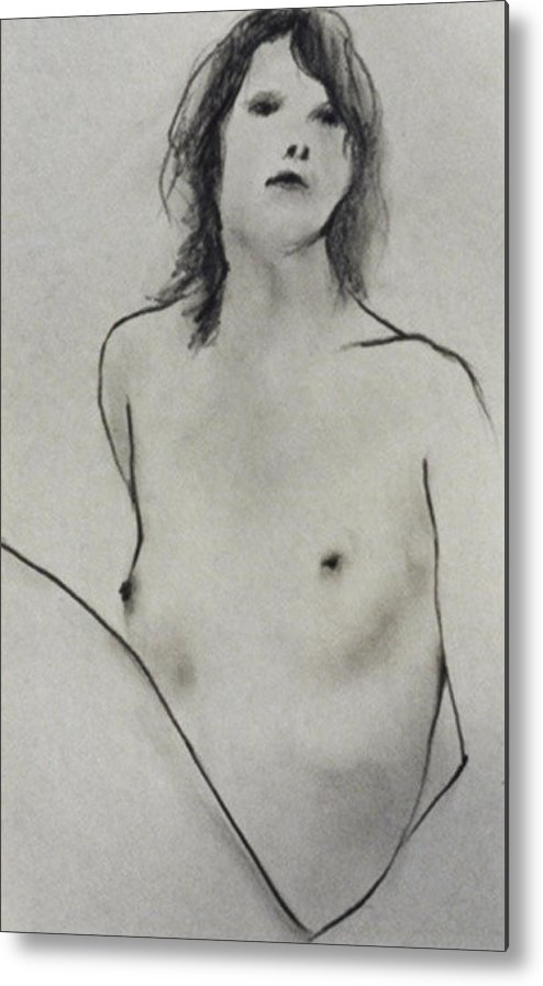 Young Woman Metal Print featuring the drawing Bather One by Michael Rutland