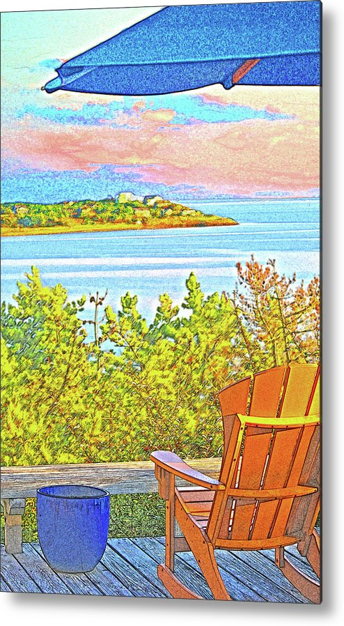 Summer Metal Print featuring the digital art Beach House On The Bay by William Sargent