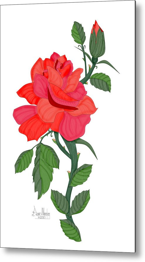 Red Rose Metal Print featuring the painting Calypso Rose by Anne Norskog