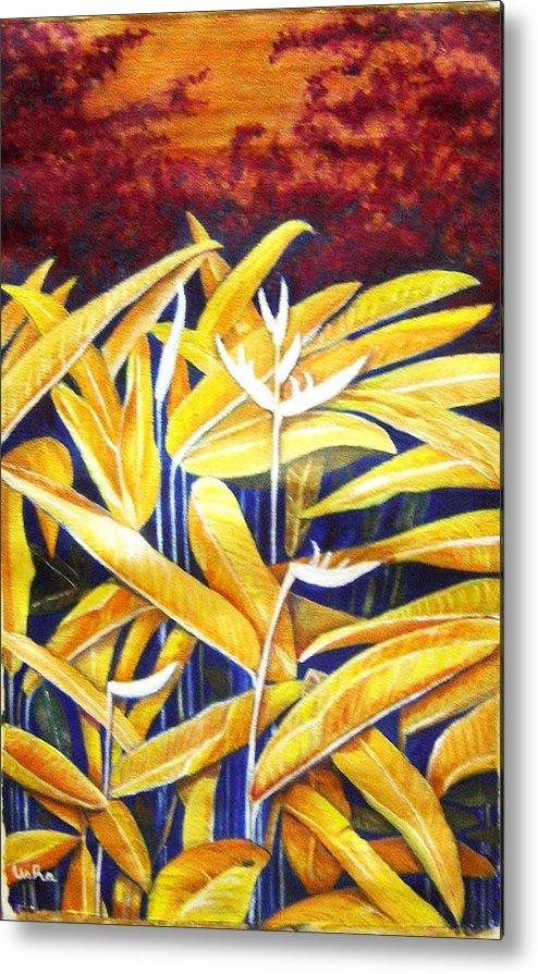 Heliconia Metal Print featuring the painting Heliconia by Usha Shantharam