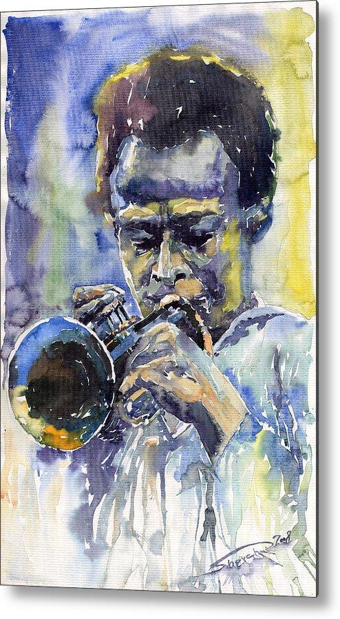 Jazz Metal Print featuring the painting Jazz Miles Davis 12 by Yuriy Shevchuk