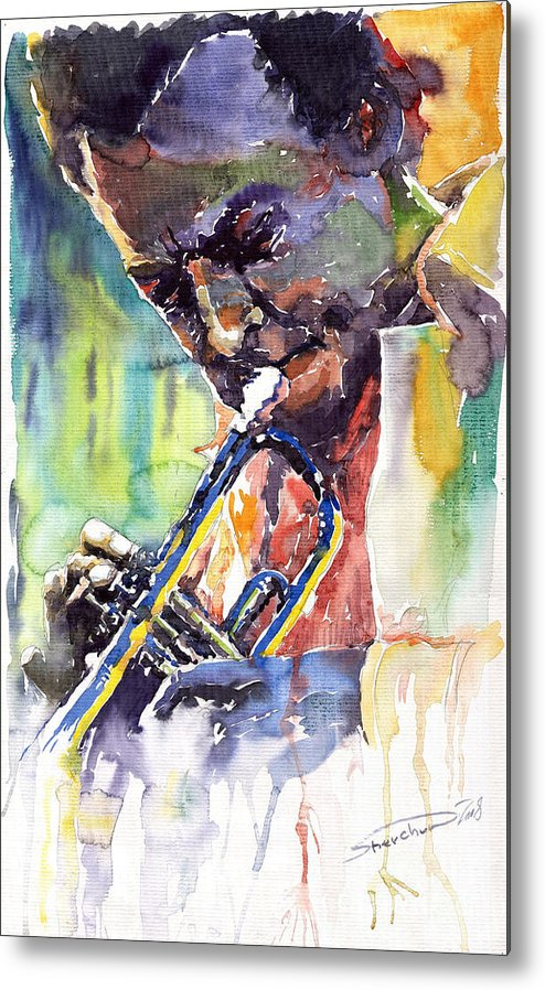 Jazz Miles Davis Music Musiciant Trumpeter Portret Metal Print featuring the painting Jazz Miles Davis 9 Blue by Yuriy Shevchuk