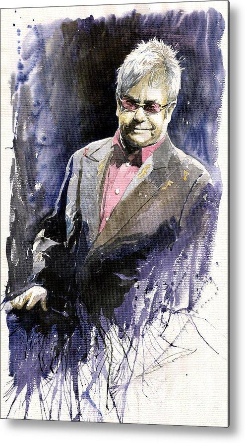 Watercolour Metal Print featuring the painting Jazz Sir Elton John by Yuriy Shevchuk