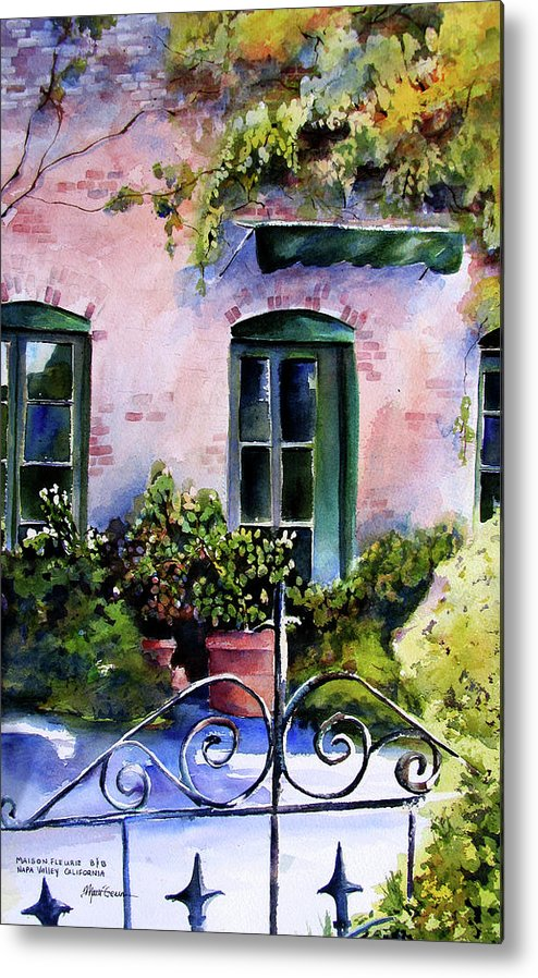 Napa Valley Metal Print featuring the painting Maison Fleurie by Marti Green