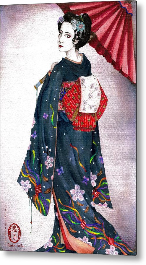 Oniko Metal Print featuring the painting New Year's by Rachel Walker
