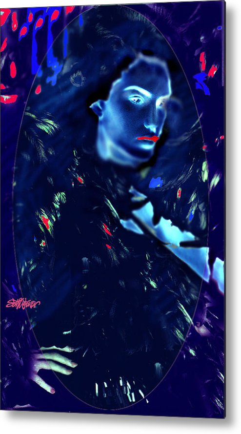 A Bizarre Evil Witch Flies With The Ravens Metal Print featuring the digital art Raven Woman by Seth Weaver