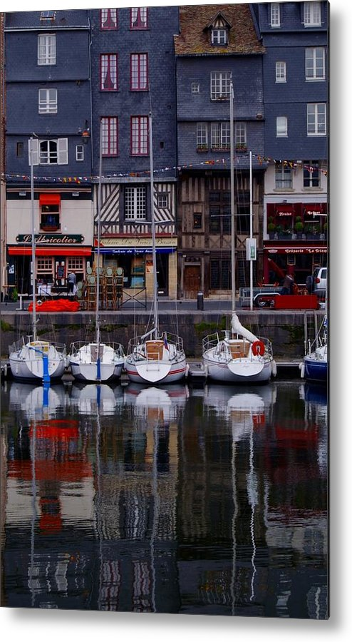 Boats Metal Print featuring the painting Reflections Of France by Nancy Bradley