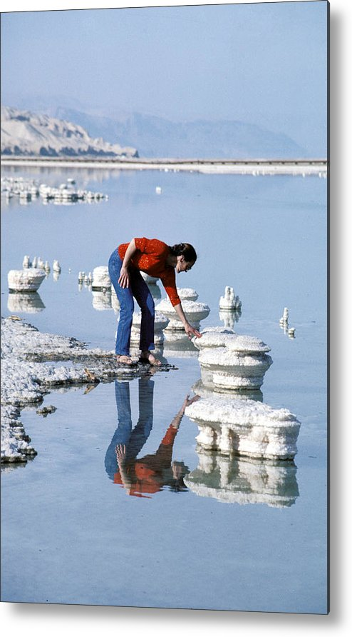 Woman Metal Print featuring the photograph Salt Pillars In Dead Sea by Carl Purcell