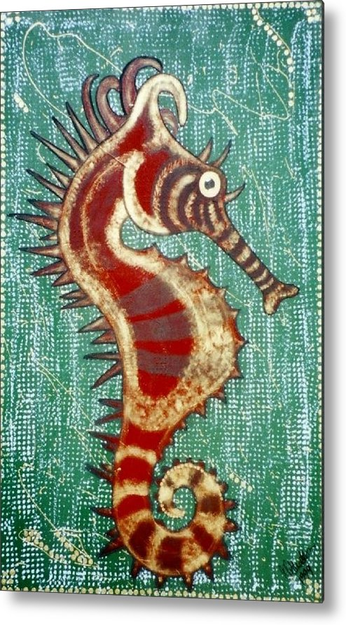 Seahorse. Sea Metal Print featuring the painting Shehorse by Joan Stratton