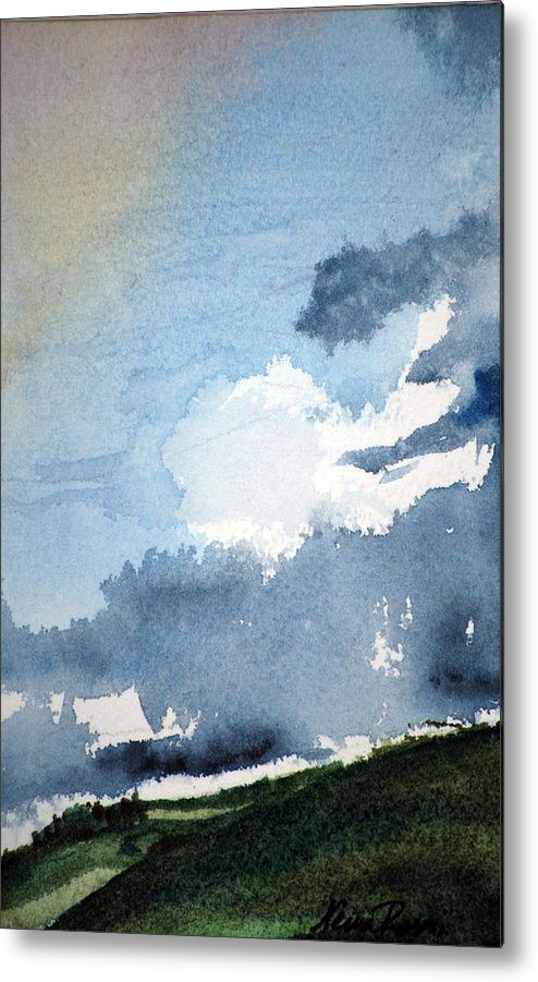 Landscape Metal Print featuring the painting Storm Clouds by Neva Rossi