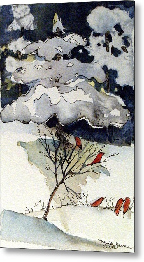 Winter Metal Print featuring the drawing The Friendly Pine Tree Watches by Mindy Newman