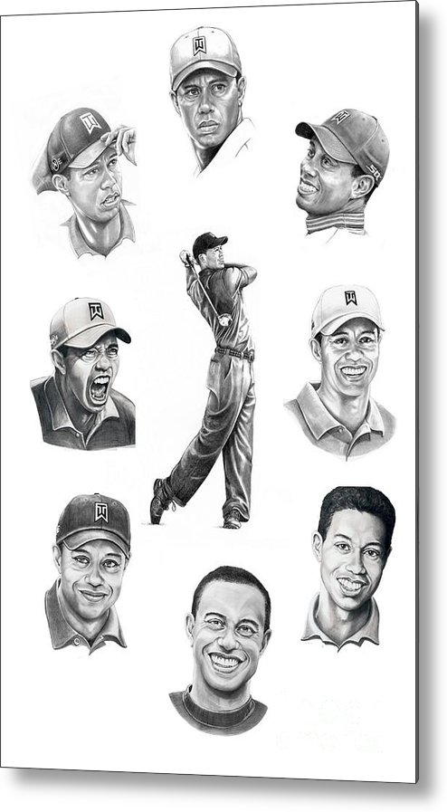 Tiger Woods Metal Print featuring the drawing Tiger Woods-murphy Elliott by Murphy Elliott