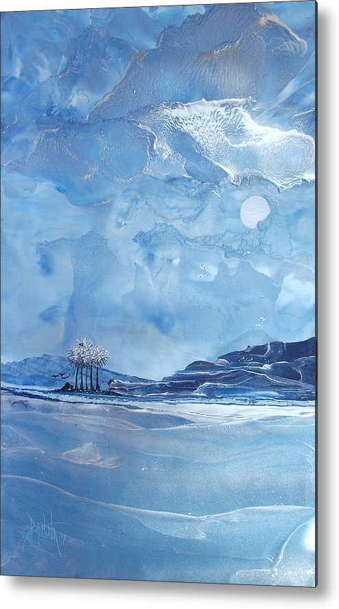 Paintings Metal Print featuring the painting Twilight Beach by Danita Cole