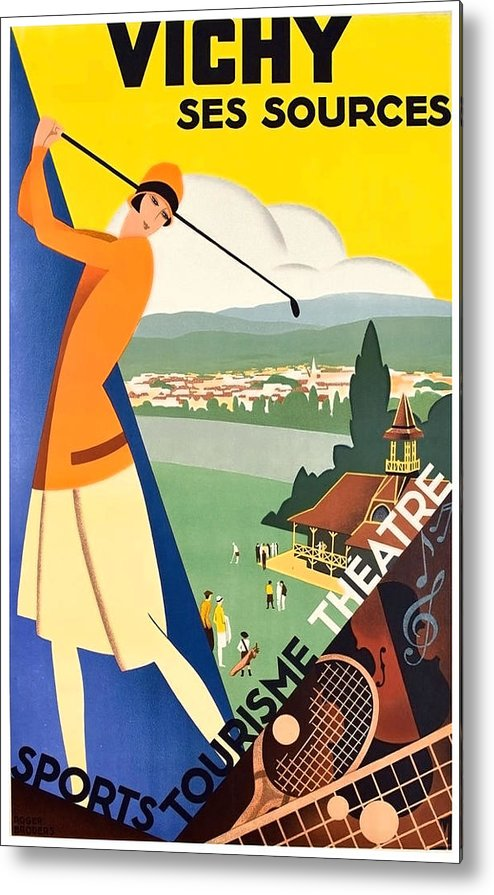 Vichy Metal Print featuring the painting Vichy, Sport Tourism, Woman Play Golf by Long Shot