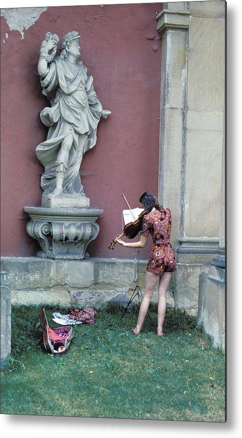 Woman Metal Print featuring the photograph Violin Practice by Carl Purcell
