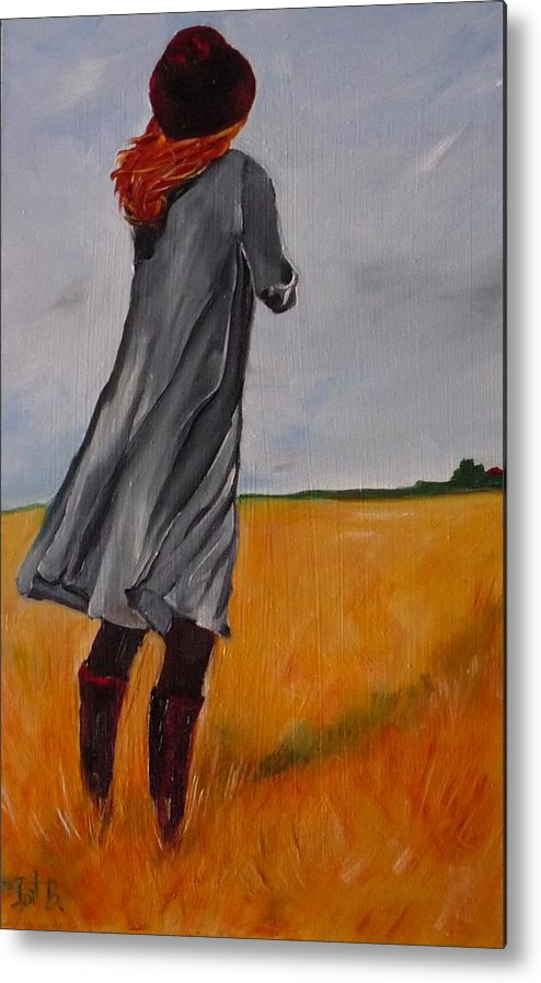 Figurative Metal Print featuring the painting Waiting For The Storm by Irit Bourla