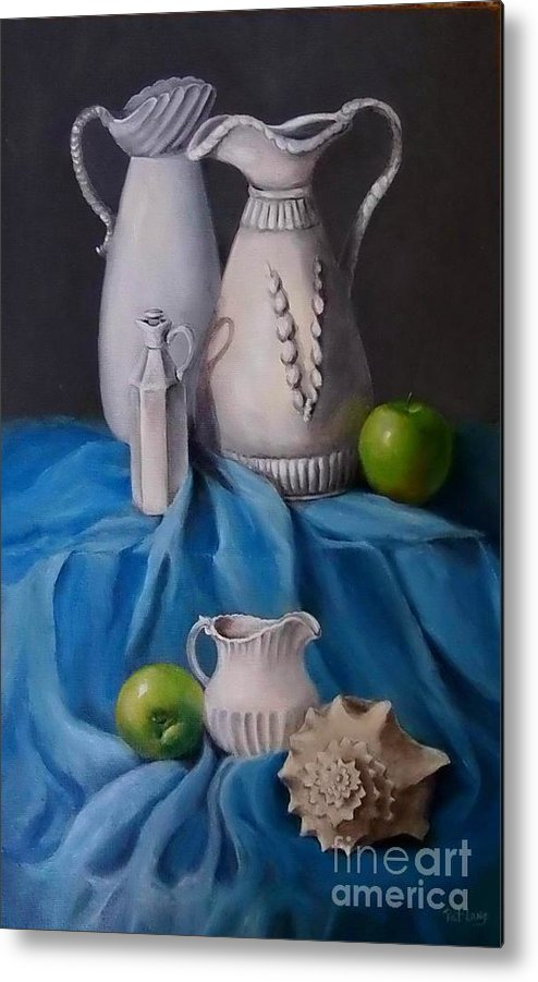 White Metal Print featuring the painting White Menagerie by Patricia Lang