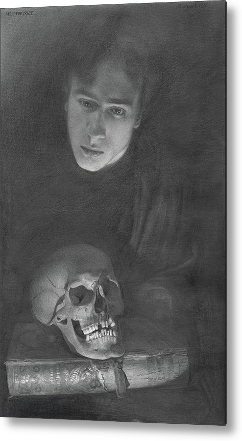 Graphite Metal Print featuring the drawing Self-portrait With A Scull by Denis Chernov