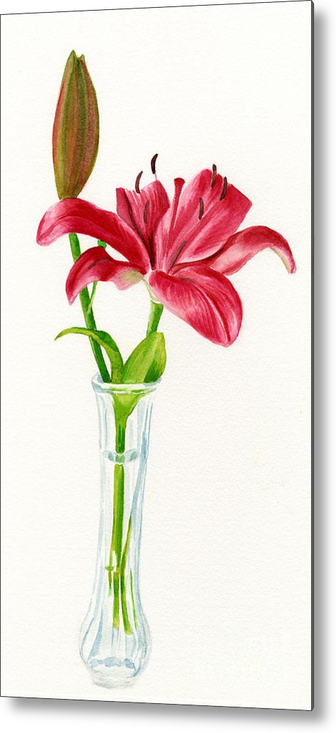 Red Metal Print featuring the painting Red Lily In A Vase by Sharon Freeman