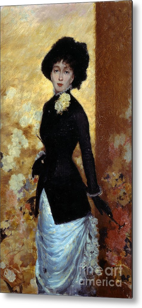 Giuseppe De Nittis (italian Painter Metal Print featuring the painting Portrait Of A Woman by MotionAge Designs