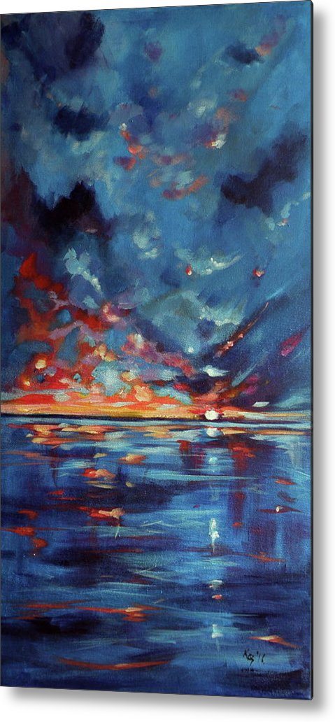Sea Metal Print featuring the painting After Storm by Kovacs Anna Brigitta