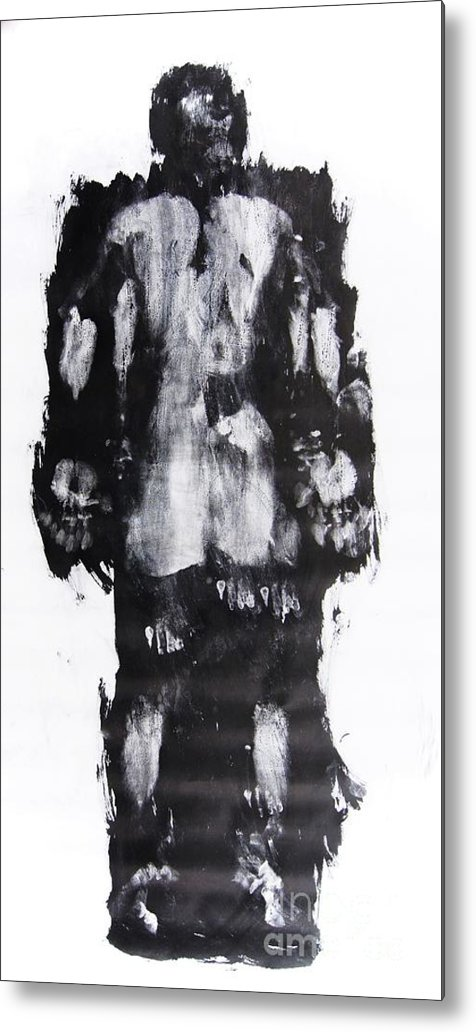Male Metal Print featuring the mixed media Male Nude Back by Erwin Bruegger
