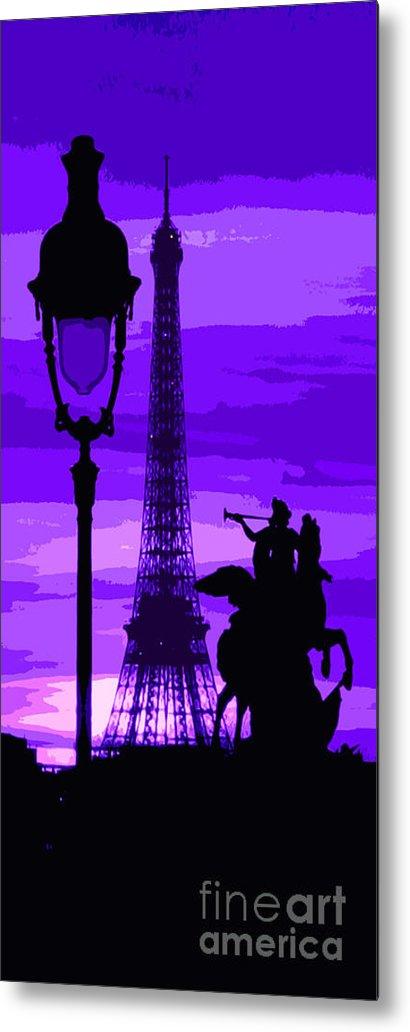 Paris Metal Print featuring the photograph Paris Tour Eiffel Violet by Yuriy Shevchuk