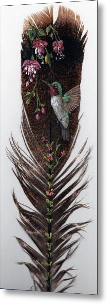 Hummingbird Metal Print featuring the painting Hummingbird by Theresa Jefferson