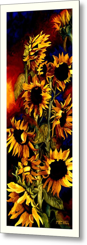 Sunflower Sun Flower Yellow Warm Cool Tall Narrow Colors Metal Print featuring the painting I'll Follow The Sun by Mike Hill