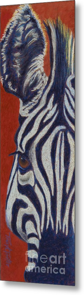 Zebra Metal Print featuring the pastel African Stripes by Tracy L Teeter