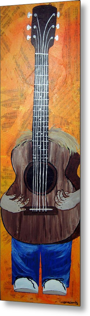 Guitar Metal Print featuring the mixed media Play For Me by Sharon Supplee