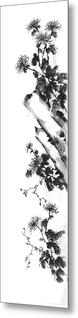 Japanese Metal Print featuring the painting Chrysanthemum Stone 2 by Chang Lee