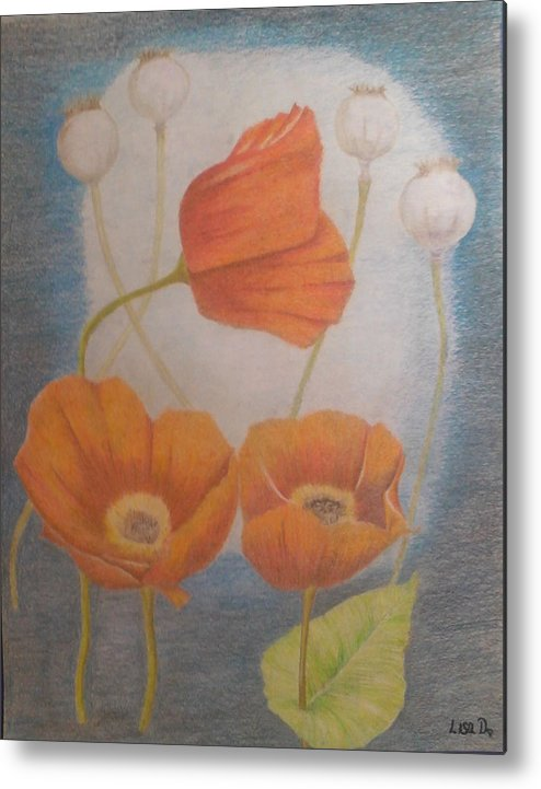 Orange Flowers Metal Print featuring the mixed media Floating Flowers by Alicia Lindley