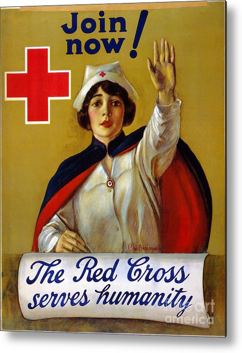 1917 Metal Print featuring the photograph Red Cross Poster, C1917 by Granger