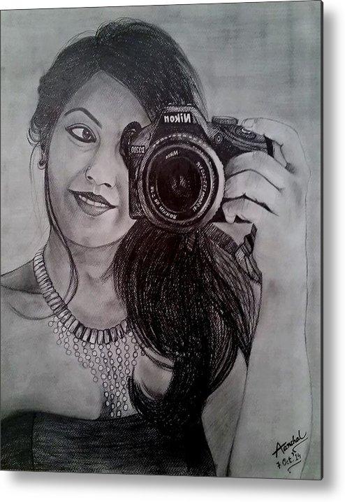 #portraits #selfdesign#art#selfiesketch#pencilart#portrait#sketching#artgallery Metal Print featuring the drawing Selfie Pencil Sketch by Aanchal Jain