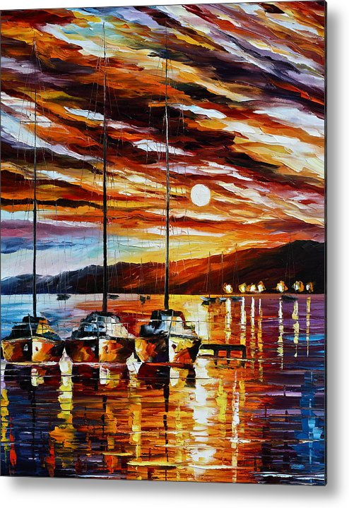 Sea Metal Print featuring the painting 3 Borthers by Leonid Afremov