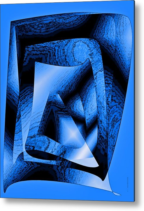 Design Metal Print featuring the digital art Abstract Design In Blue Contrast by Mario Perez