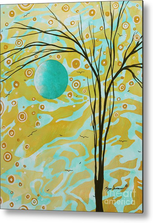 Abstract Metal Print featuring the painting Abstract Landscape Painting Animal Print Pattern Moon And Tree By Madart by Megan Duncanson