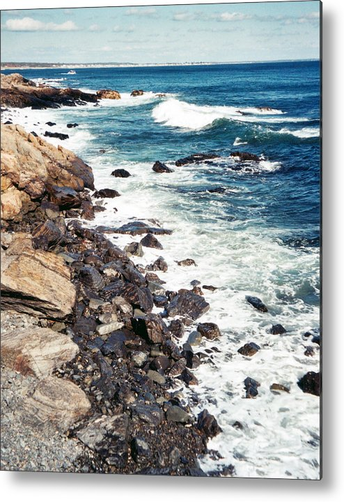 Ocean Metal Print featuring the photograph Along Marginal Way Ogunquit Me by Ann Tracy