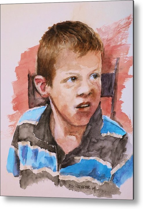 Curious Kid. Metal Print featuring the painting Always Thinking by Don Schroeder