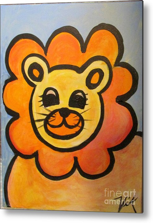 Baby Metal Print featuring the painting Baby Lion by Lyn Vic