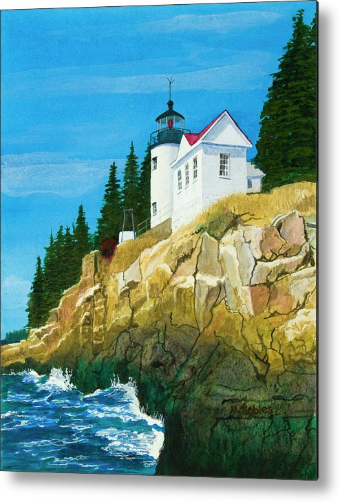 Lighthouse Metal Print featuring the painting Bass Harbor Lighthouse by Mike Robles