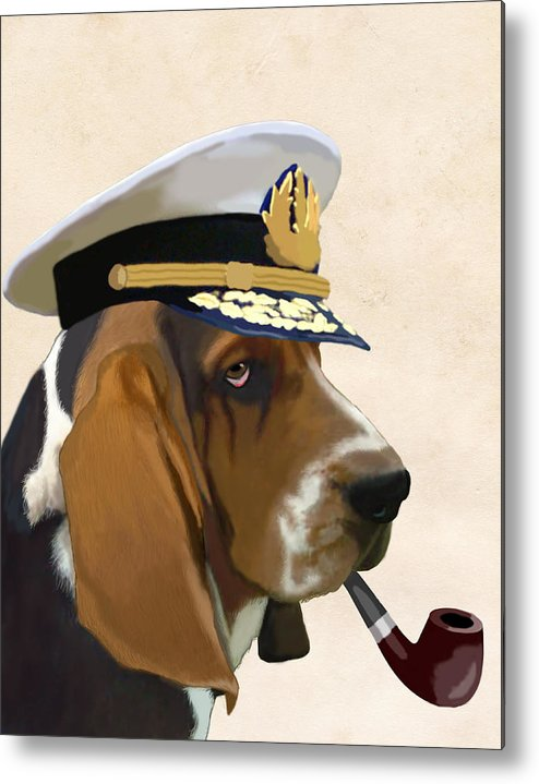 Dog Framed Prints Metal Print featuring the digital art Basset Hound Seadog by Kelly McLaughlan