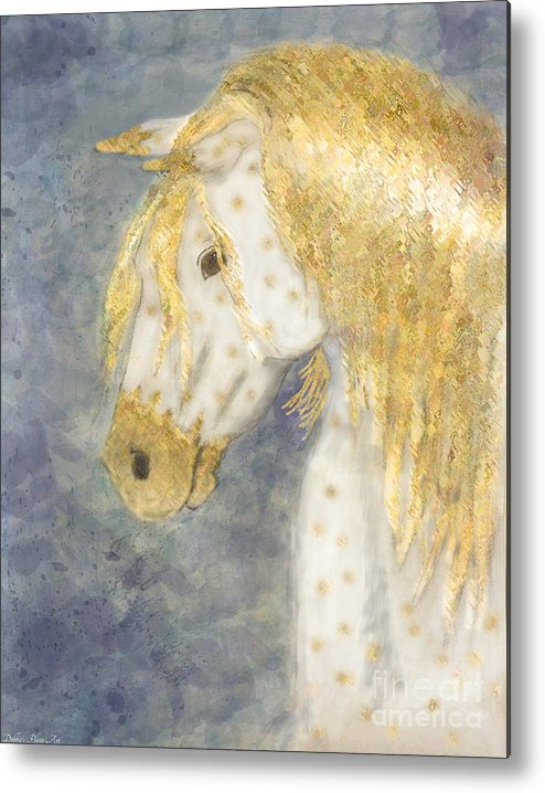 Nature Metal Print featuring the painting Beauty And Strength Golden Appaloosa by Debbie Portwood