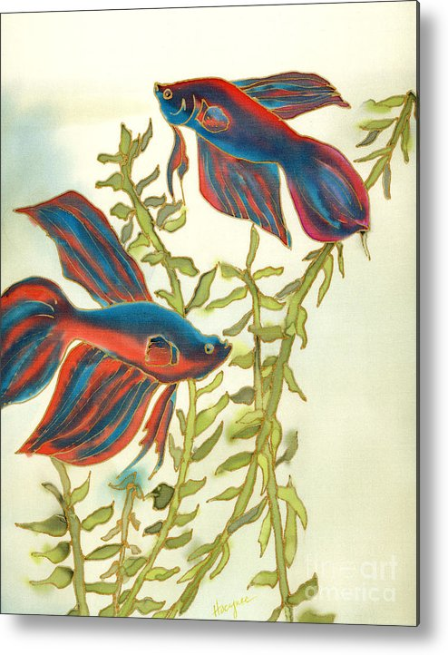Painting Metal Print featuring the painting Betta Splendens by Addie Hocynec