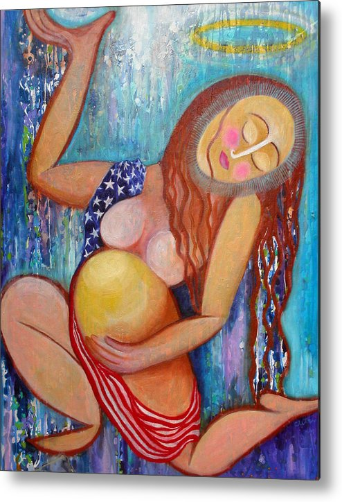 Pregnancy Metal Print featuring the painting Birthing Of A New America by Anne Cameron Cutri