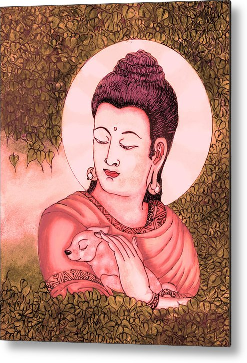 Buddha Metal Print featuring the glass art Buddha Red by Loganathan E