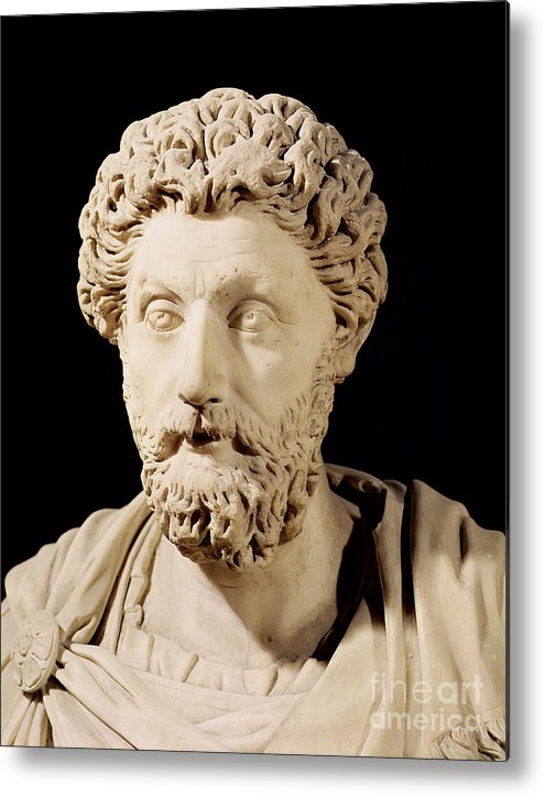Roman Emperor Metal Print featuring the sculpture Bust Of Marcus Aurelius by Anonymous
